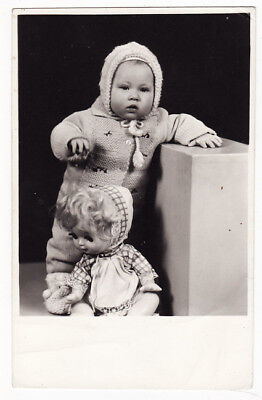 1950s Soviet Russia USSR Cute Baby Girl HUGE DOLL TOY Real Photo
