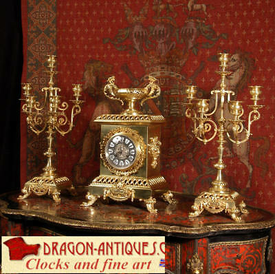Large Antique French Classical Clockset Gilt Brass 1880