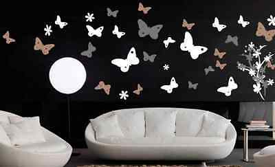 Vinyl Wall Art Decal Sticker Butterfly Flower Floral Lg