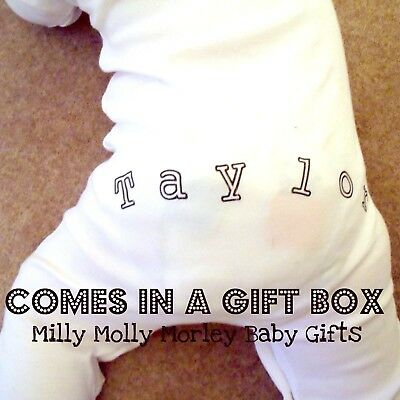 Funky PERSONALISED FRONT & BACK babygrow with GIFT BOX Great baby shower gift