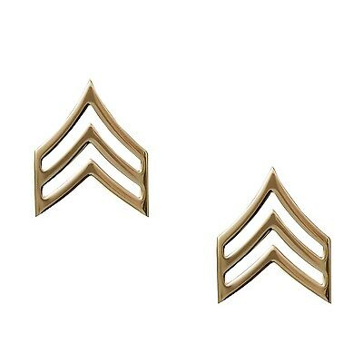 Gold Sargeant Pins Collar Insignia Set Of Two