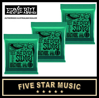 3 Sets Ernie Ball Not Even Slinky 2626 Electric Guitar Strings 12-56 New E2626