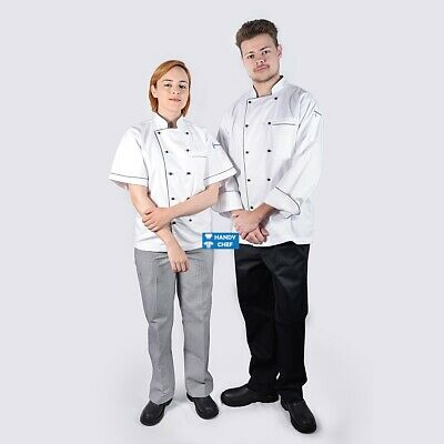 Quality Executive Chef Jacket White with Black Piping, Red Trim, Blue Trim