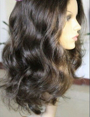 """front lace wig remy indian human hair 16"""" 2# body wave"""