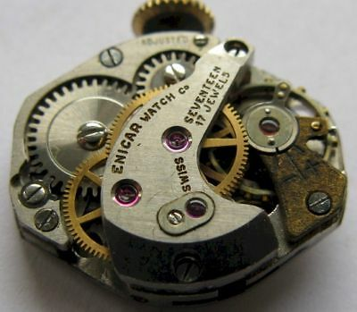 used vintage ENICAR FHF 62 Watch Movement 17 jewels