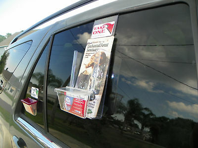 "Vehicle Window Tri Fold Brochure & Card Holder 4"" Wide"