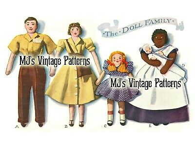 1940 Doll Family Vintage Pattern ~ Small Cloth Dolls