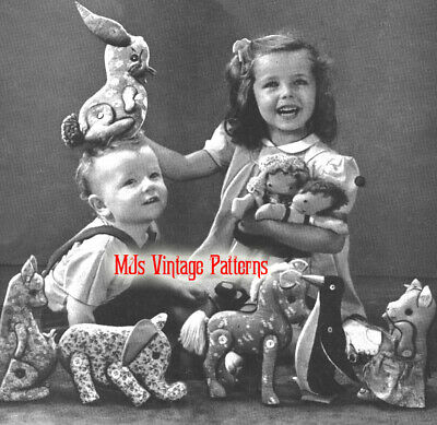 Vintage 1940s Easy to Sew Toys & Dolls Pattern