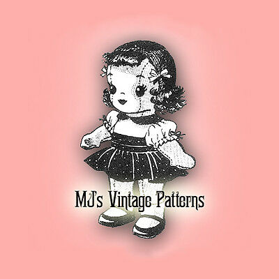 Vintage Pattern Stuffed Doll & Her Outfit