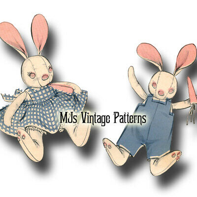 Vintage Pattern ~ Stuffed Bunny Pair in Clothes