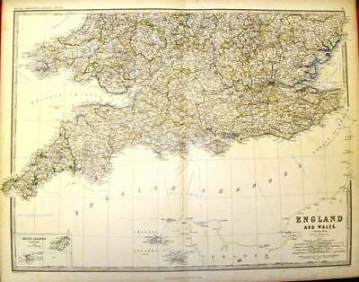 Keith Johnston's Map - ENGLAND & WALES (SOUTH) - c1865