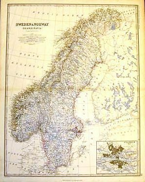Keith Johnston's Map - SWEDEN & NORWAY - c1865