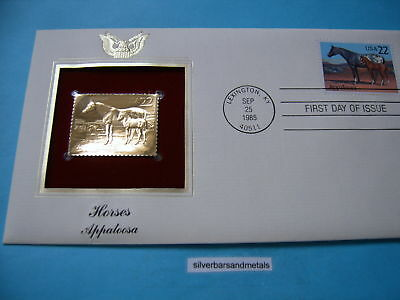 Appaloosa Horse 22Kt Gold Stamp Commemorative & Stamp