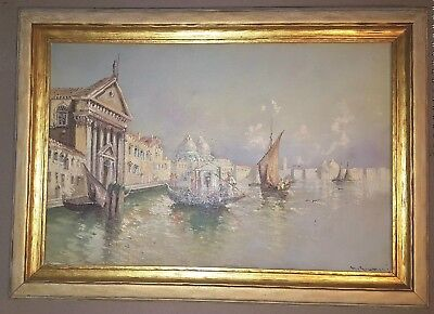 Well Listed Maria Gianni Venice Antique Oil Painting Old~1900's