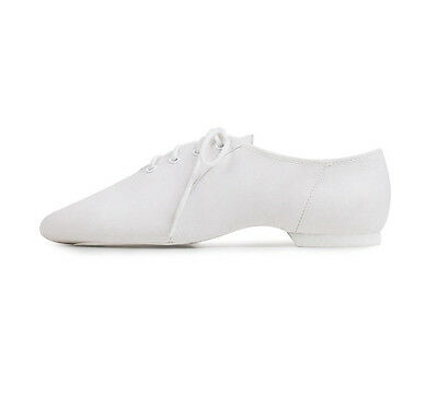 Bloch S0443L White Adult 4.5M Split Sole Jazz Shoe Slightly Faded