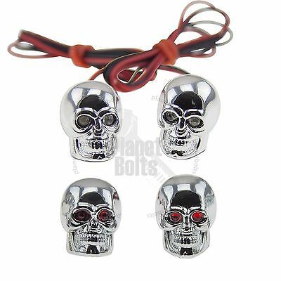 CHROME SKULL LED License Plate Bolt Red Diodes Motorcycle Auto Light