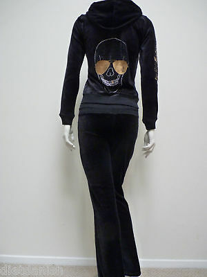 Christian Audigier Velour Tracksuit Hoodie Jog Set SJ1071 Black Skeleton Size L