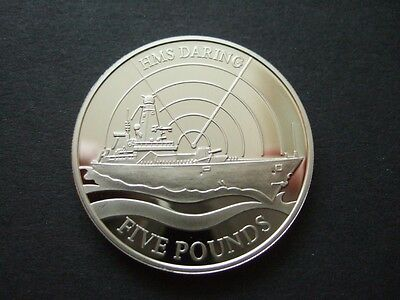 Guernsey 2009 Uncirculated £5 Coin Hms Daring, Capsuled. 2009 Five Pounds Coin.