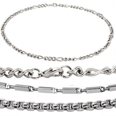 Men Stainless Steel Heshe Figaro or Box Chain Necklace