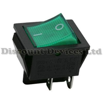 Rocker Switch 2 Circuits 16A 250V off-on I-0 Sign Green