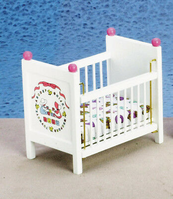 BABY CRIB WITH ABC MATTRESS DOLLHOUSE NURSERY WOOD BED 1.12 SCALE