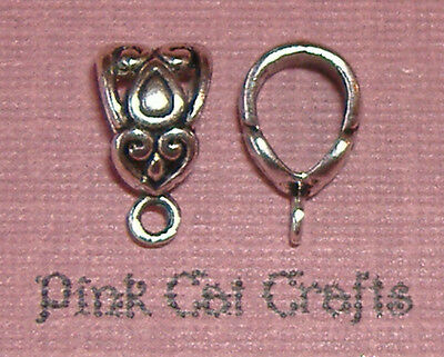 10 x Tibetan Silver CHARM HANGER BAIL FILIGREE 6 x 7MM HOLE Finding
