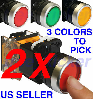 NEW TWO (2) Push Button Switch Momentary Press Switch Heavy Duty