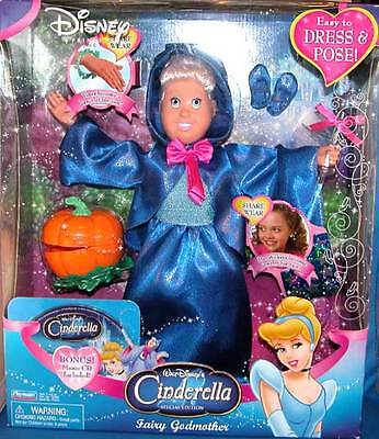 "DISNEY FAIRY GODMOTHER DOLL CINDERELLA 15"" DOLL SPECIAL EDITION, MUSIC CD Lot"