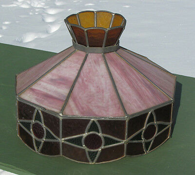 Old LEADED STAINED GLASS HANGING LAMP SHADE  RARE!!