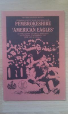 Pembrokeshire v American Eagles 1987 Rugby Programme