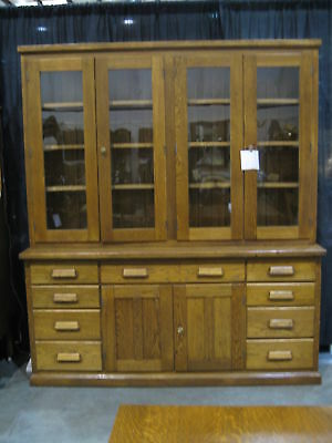 Antique American Oak Country Store Case Cabinet