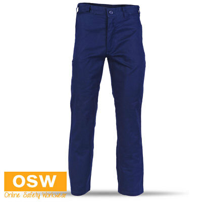 Unisex Navy Safety Light Weight Cotton Drill Comfort Fit Work Pants