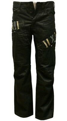 Boys Black Coated Jeans Designer Denim Jeans/Pants Straight Leg Sizes 25--29