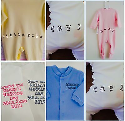 Funky PERSONALISED FRONT/BACK babygrow sleepsuit great newborn gift baby shower