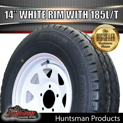 14 x 6 185 LT White Sunraysia Wheel Rim & Tyre suits Ford Caravan Trailer Boat