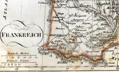 Unidentified German Hand Colored Map -c1860- FRANCE (FRANKREICH)
