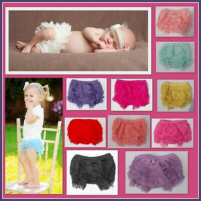 Baby Girl Lace Bloomers Ruffle Bum Frill Pants Nappy Cover Bottoms Newborn