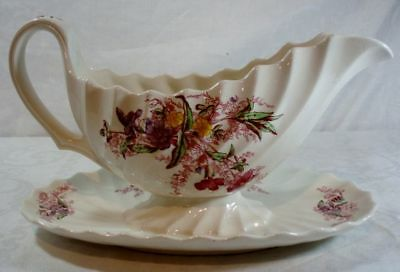 Spode Fairy Dell Gravy Boat with Attached Underplate
