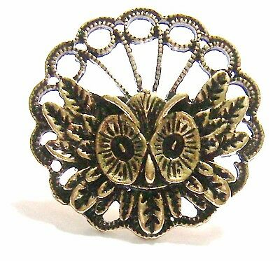 Vintage Owl Ring-Retro Filigree Antique Bronze Adjusts