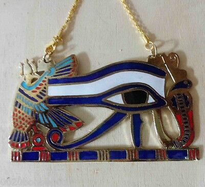 Egyptian Jewelry Ancient Pharaoh Necklace Horus Eye Isis Wings Solid Brass 102