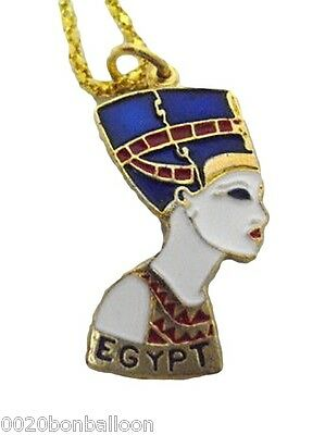 handmade egyptian nefertiti jewelry necklace enameled   102
