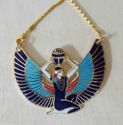 Isis Winged Wings Pharaoh Jewelry Necklace Pendant Enameled Handmade Brass  102