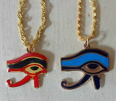 "2 Pcs Horus Eye Pharaoh Egyptian Jewelry Necklace 1.3"" Enamel  (102)"
