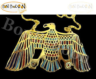 Egypt Jewelry Pectoral Eagle pharaoh Horus Necklace XX LARGE Solid Brass  102