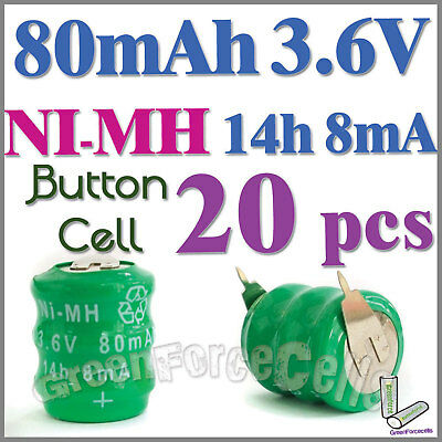 20  Ni-MH 80mAh 3.6V button Rechargeable Battery w/ tab
