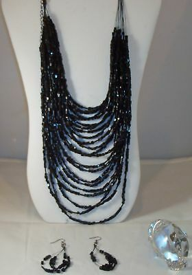 Stunning Vtg Style Multi Strands  Agate Necklace Set