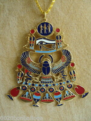 Egyptian Handmade Pharaoh Scarab Horus Eye Ankh Necklace Pendant Jewelry XL 103