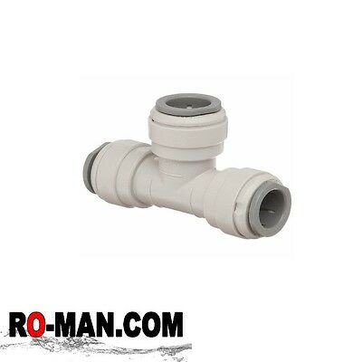 White Fittings 3 Way Quick Fit Tee  1/4 -  Reverse Osmosis Water Tube Connector