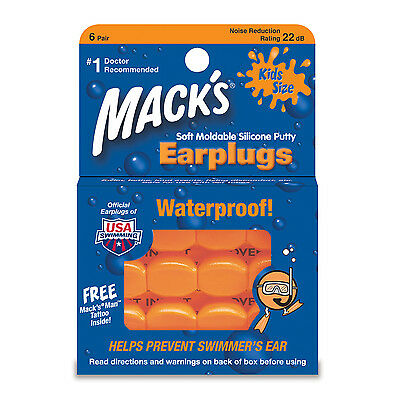 Mack's Pillow Soft Waterproof Reusable KIDS Swim Ear Plugs Silicone 6 PAIRS #10