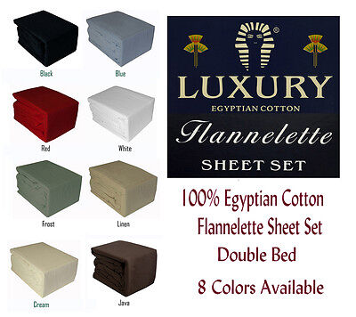 100% Egyptian Cotton Flannelette Double Bed Sheet Set Twill Weave Color Choices